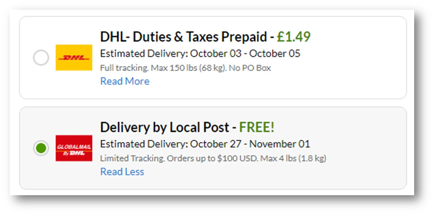 iherb shipping method