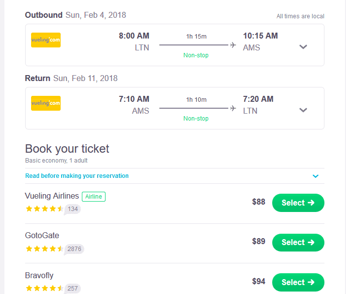 skyscanner - agents and airlines options