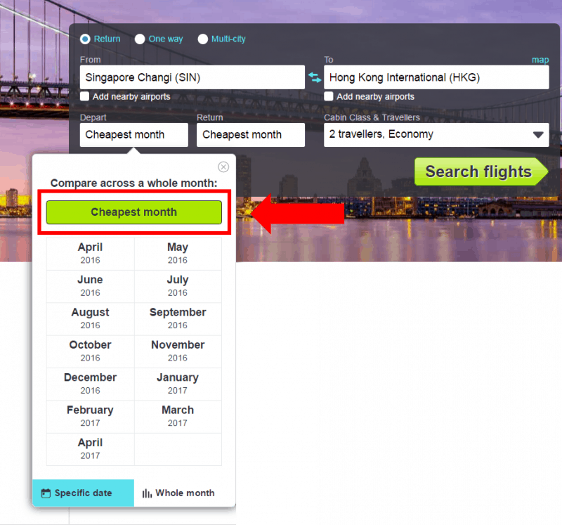 skyscanner - cheapest month search