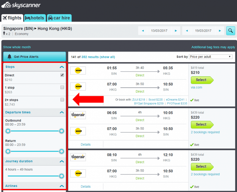skyscanner - filter flight search results