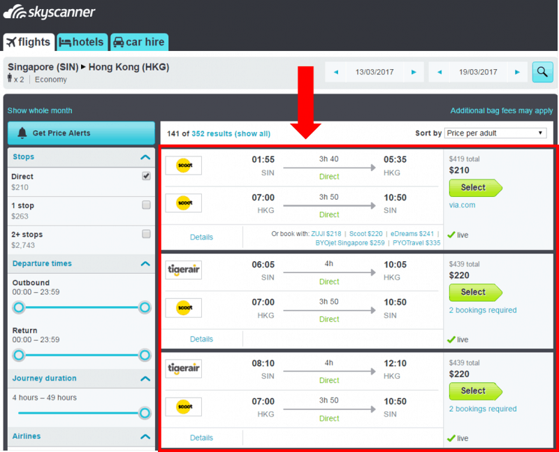 skyscanner - flight search results