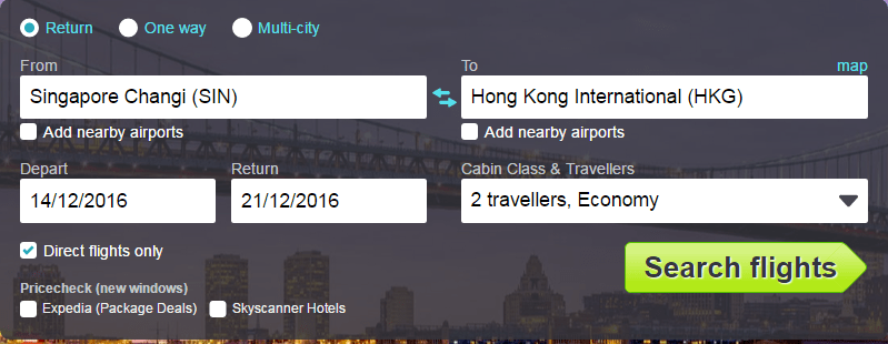 skyscanner - flight search