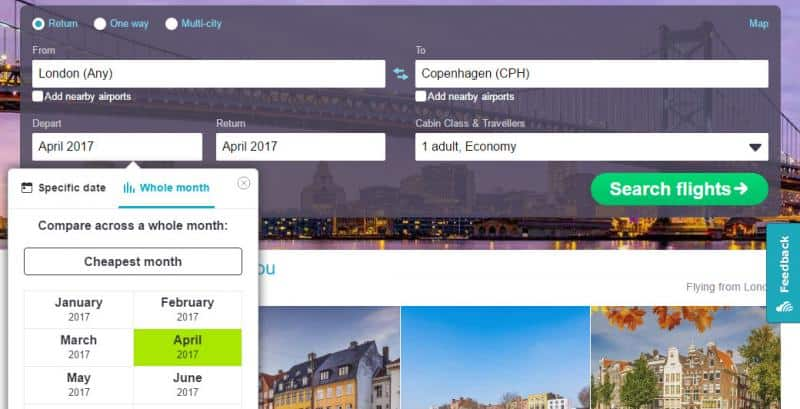 skyscanner - search flight on a specific month