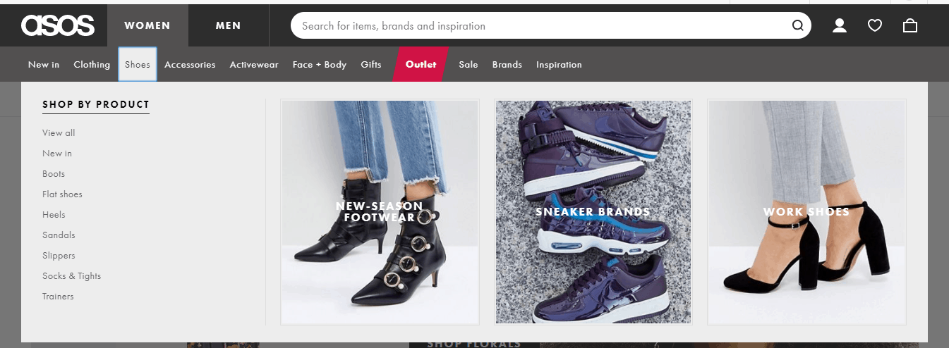 asos - shoes menu