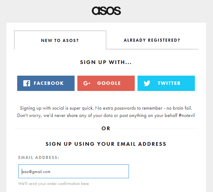 asos - sign up