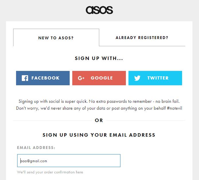 asos - sign up