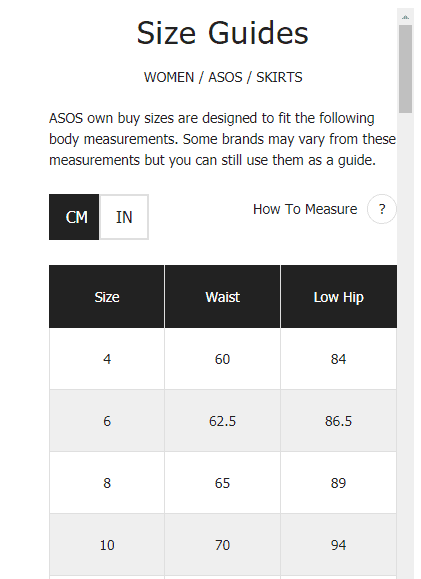 asos - size guide - display