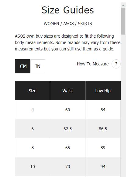 asos - size guide - display