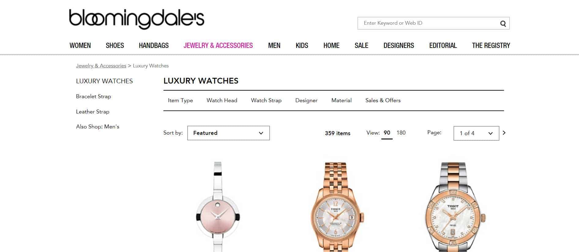 bloomingdales luxury watches