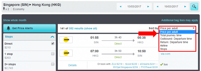 skyscanner - sort search results
